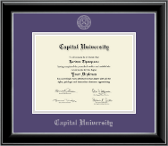 Capital University Diploma Frame - Silver Embossed Diploma Frame in Onyx Silver