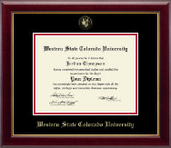 Western State Colorado University Diploma Frame - Gold Embossed Diploma Frame in Gallery