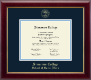 Simmons College Diploma Frame - Gold Embossed Diploma Frame in Gallery