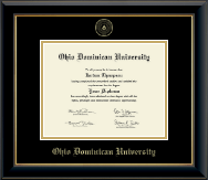 Ohio Dominican University Diploma Frame - Gold Embossed Diploma Frame in Onyx Gold