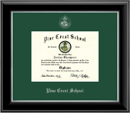 Pine Crest School Diploma Frame - Silver Embossed Diploma Frame in Onyx Silver