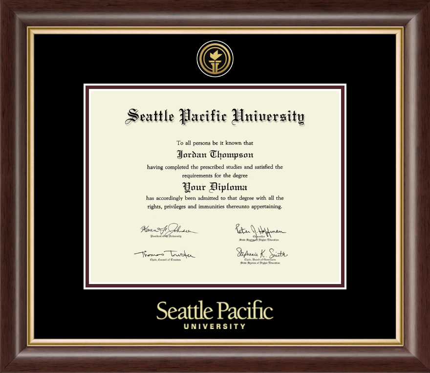 Seattle Pacific University Gold Engraved Medallion Diploma