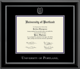 university of portland diploma frame silver embossed diploma frame in onyx silver