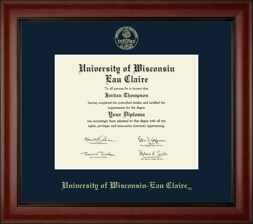 University Of Wisconsin Eau Claire Gold Embossed Diploma