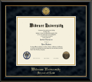 Widener University School of Law Diploma Frame - Gold Engraved Medallion Diploma Frame in Onyx Gold