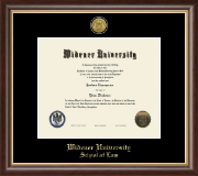 Widener University School of Law Diploma Frame - Gold Engraved Medallion Diploma Frame in Hampshire