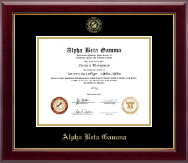 Alpha Beta Gamma Certificate Frame - Gold Embossed Certificate Frame in Gallery