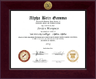 Alpha Beta Gamma Honor Society Certificate Frame - Century Gold Engraved Certificate Frame in Cordova