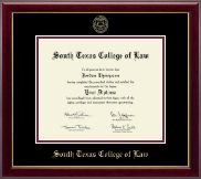 South Texas College of Law Diploma Frame - Gold Embossed Diploma Frame in Gallery