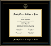 South Texas College of Law Diploma Frame - Gold Embossed Diploma Frame in Onyx Gold
