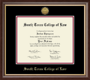 South Texas College of Law Diploma Frame - Gold Engraved Medallion Diploma Frame in Hampshire