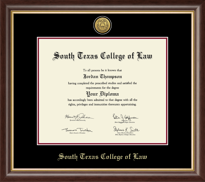 South Texas College Of Law Gold Engraved Medallion Diploma