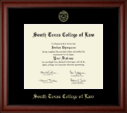South Texas College of Law Diploma Frame - Gold Embossed Diploma Frame in Cambridge