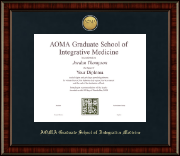 AOMA Grad School of Integrative Medicine Diploma Frame - Gold Engraved Medallion Diploma Frame in Ridgewood