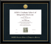 AOMA Grad School of Integrative Medicine Diploma Frame - Gold Engraved Medallion Diploma Frame in Onyx Gold