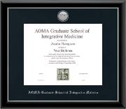 AOMA Grad School of Integrative Medicine Diploma Frame - Silver Engraved Medallion Diploma Frame in Onyx Silver