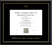 AOMA Grad School of Integrative Medicine Diploma Frame - Gold Embossed Diploma Frame in Onyx Gold