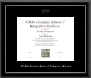 AOMA Grad School of Integrative Medicine Diploma Frame - Silver Embossed Diploma Frame in Onyx Silver
