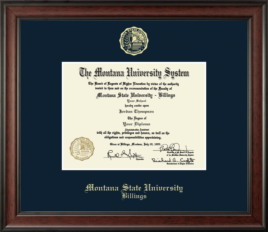Montana State University Billings Gold Embossed Diploma
