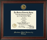 Montana State University Billings Diploma Frame - Gold Engraved Medallion Diploma Frame in Studio