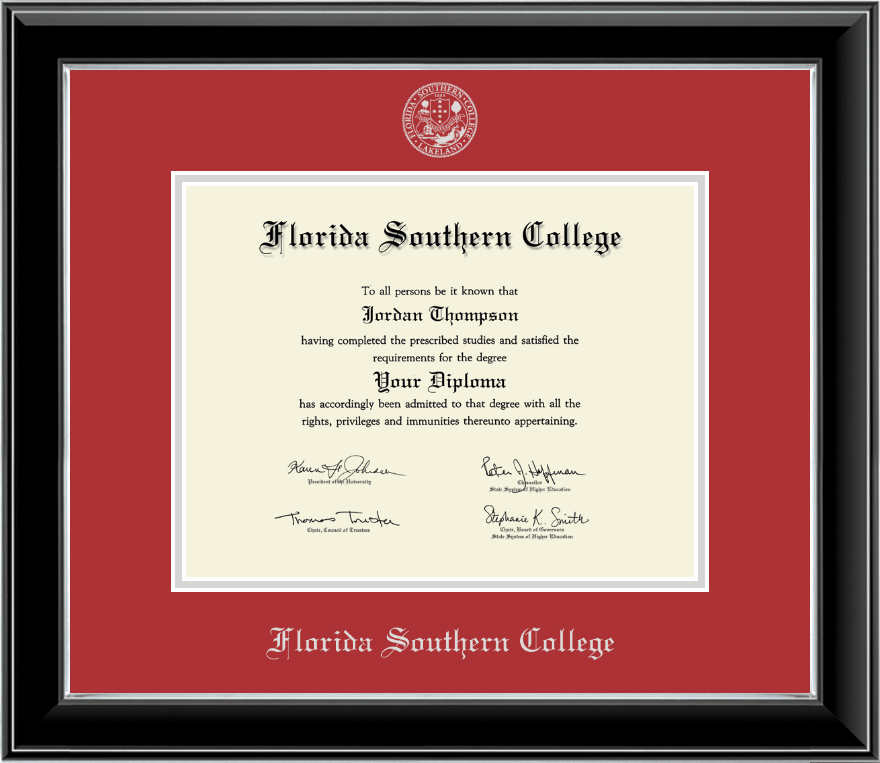 florida southern college silver embossed diploma frame in onyx silver item 234656 from florida southern college bookstore