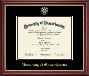 University of Massachusetts Amherst Diploma Frame - Brass Masterpiece Medallion Diploma Frame in Kensington Gold
