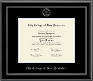 City College of San Francisco Diploma Frame - Silver Embossed Diploma Frame in Onyx Silver