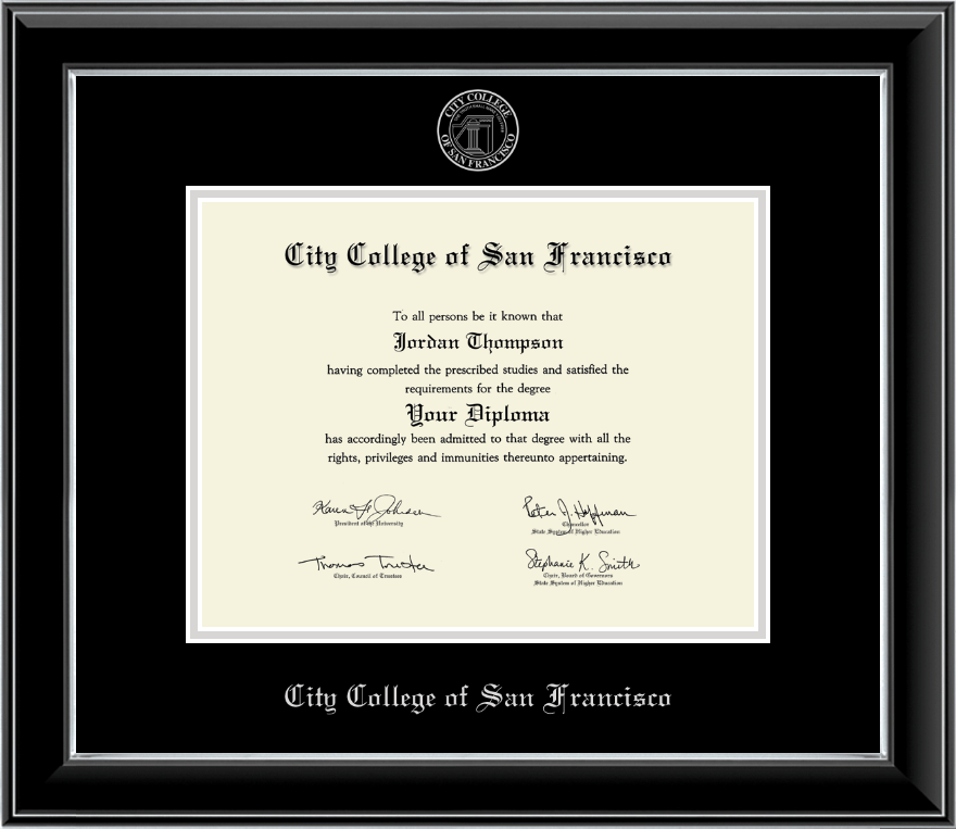 City College of San Francisco Silver Embossed Diploma Frame in Onyx ...