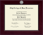 City College of San Francisco Diploma Frame - Century Silver Engraved Diploma Frame in Cordova