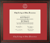 City College of San Francisco Diploma Frame - Silver Embossed Diploma Frame in Studio