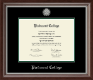 Piedmont College Diploma Frame - Silver Engraved Medallion Diploma Frame in Devonshire