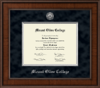 Mount Olive College Diploma Frame - Presidential Silver Engraved Diploma Frame in Madison