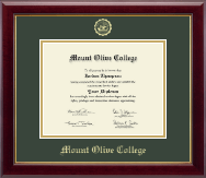 Mount Olive College Diploma Frame - Gold Embossed Diploma Frame in Gallery