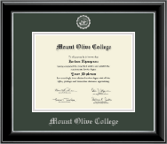 Mount Olive College Diploma Frame - Silver Embossed Diploma Frame in Onyx Silver