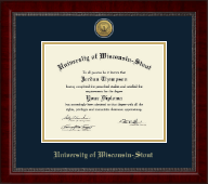 University of Wisconsin-Stout Diploma Frame - Gold Engraved Medallion Diploma Frame in Sutton