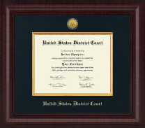 United States District Court Certificate Frame - Presidential Gold Engraved Certificate Frame in Premier