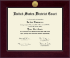 United States District Court Certificate Frame - Century Gold Engraved Certificate Frame in Cordova