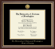 The University of Alabama at Birmingham Diploma Frame - Doctor of Nursing Practitioner- Gold Engraved Medallion Diploma Frame in Hampshire