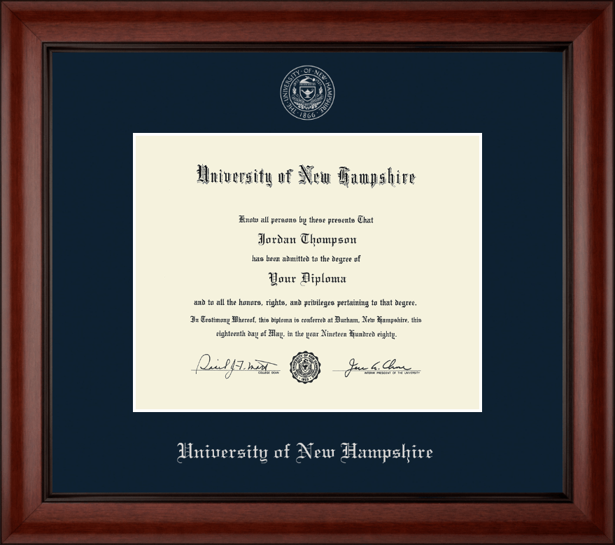 University Of New Hampshire At Manchester Silver Embossed Diploma Frame In Cambridge