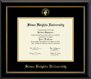 Siena Heights University Diploma Frame - Gold Embossed Diploma Frame in Onyx Gold