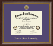 Kansas State University Diploma Frame - Gold Engraved Medallion Diploma Frame in Hampshire