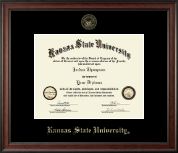 Kansas State University Diploma Frame - Gold Embossed Diploma Frame in Studio