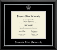 Emporia State University Diploma Frame - Silver Embossed Diploma Frame in Onyx Silver