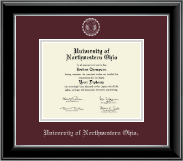University of Northwestern Ohio Diploma Frame - Silver Embossed Diploma Frame in Onyx Silver