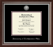 University of Northwestern Ohio Diploma Frame - Silver Engraved Medallion Diploma Frame in Devonshire