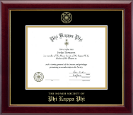 Phi Kappa Phi Honor Society Certificate Frame - Gold Embossed Certificate Frame in Gallery