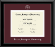 Texas Southern University Diploma Frame - Silver Embossed Diploma Frame in Onyx Silver