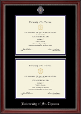 University of St. Thomas Diploma Frame - Masterpiece Medallion Double Diploma Frame in Kensington Silver