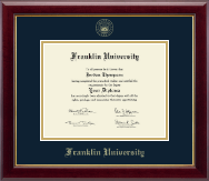 Franklin University Diploma Frame - Gold Embossed Diploma Frame in Gallery