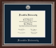 Franklin University Diploma Frame - Silver Engraved Medallion Diploma Frame in Devonshire